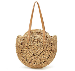 Woven Straw Round Beach Bag