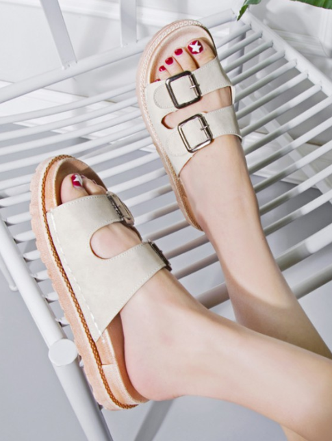 Flat Double Buckle PU Slides