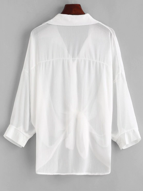 Button Up Drop Shoulder Cover Up