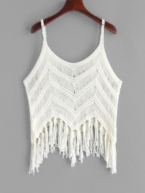 Fringed Zigzag Crochet Tank Top - White