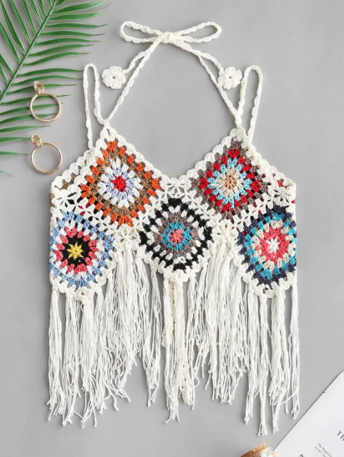 Fringed Tie Crochet Camisole