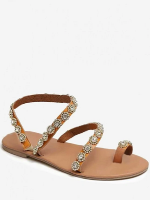 Bohemia Style Summer Flower Pattern Sandals - Brown
