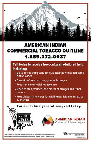 Project Filter American Indian QuitLine Poster