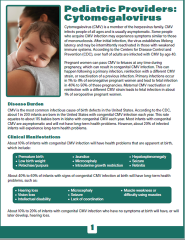 CMV (Cytomegalovirus) Pediatric Health Care Providers Fact Sheet