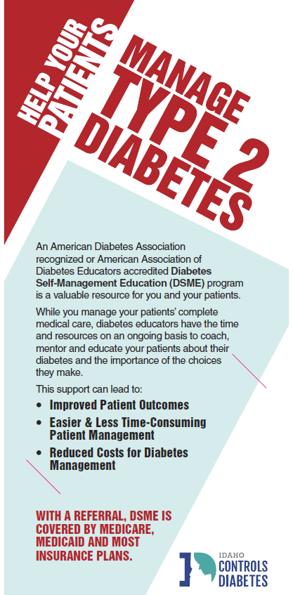 Diabetes Self-Management Education Rack Card for Healthcare Providers - Ships in Packages of 25, Max 4 Per Order