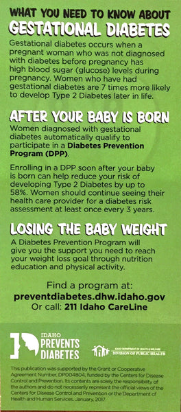 Gestational Diabetes Brochure-Ships in Packages of 25, Max 4 Per Order