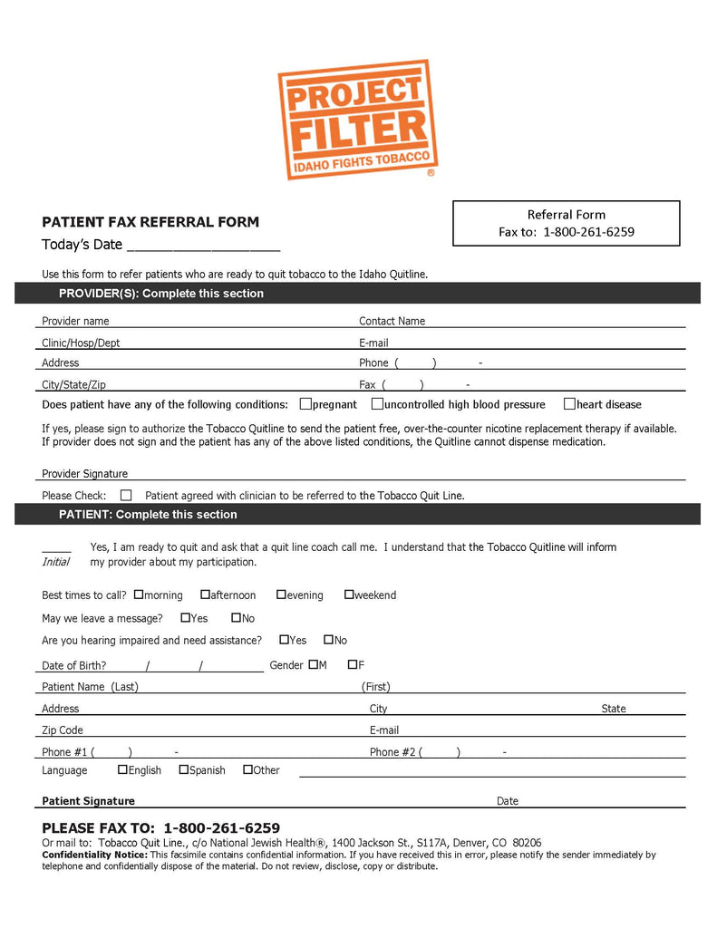 Project Filter - Idaho QuitLine Fax Pads