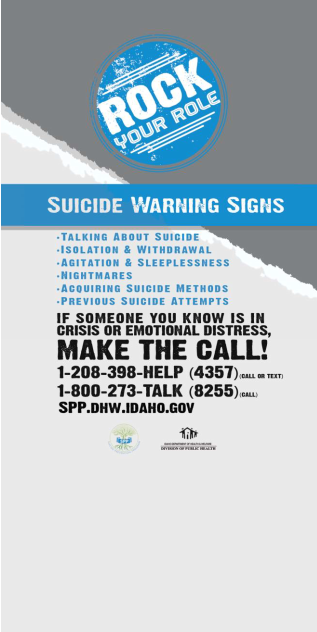 Rock Your Role Suicide Prevention Table Tent Idaho Health Tools - Table tent signs