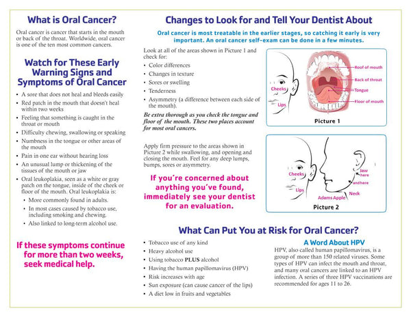 What You Need to Know About Oral Cancer - Ships in Packages of 25
