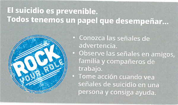 """Rock Your Role"" Suicide Prevention Wallet Card - Spanish"