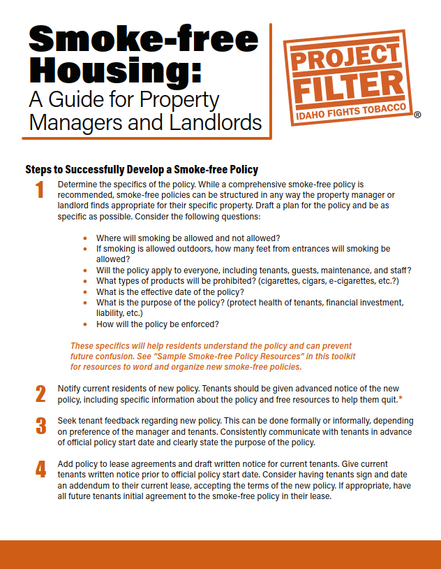 Project Filter Smokefree Housing Toolkit