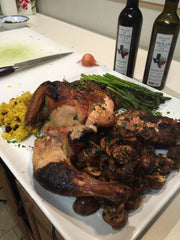 Chef Shannon full gourmet meal using Texas olive oil and balsamic vinegar