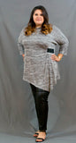 Plus Size Black and Gray Asymmetric Sleeve Shirt