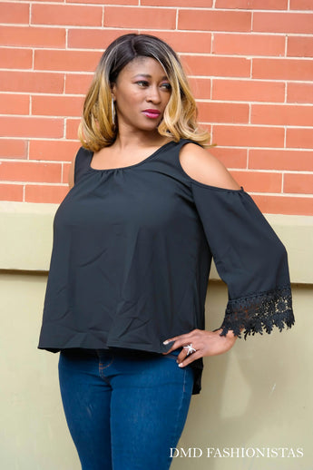 Black Flare Blouse