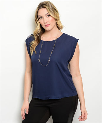 Navy Plus Size Top