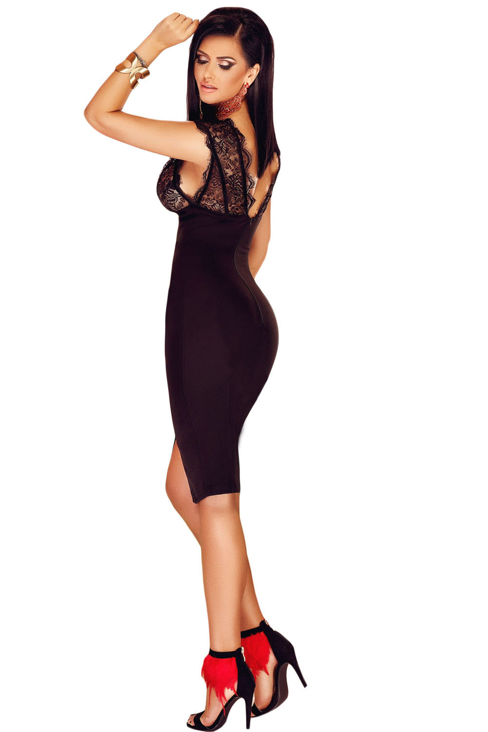 Black Lace V Neck Sleeveless Dress