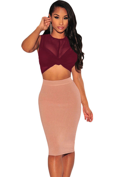 Wine Sheer Crop Top