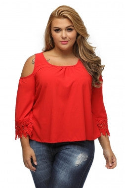 RED BLOUSE FLARE