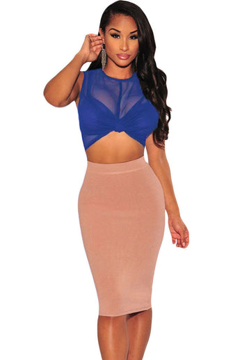 Royal Blue Sheer Crop Top