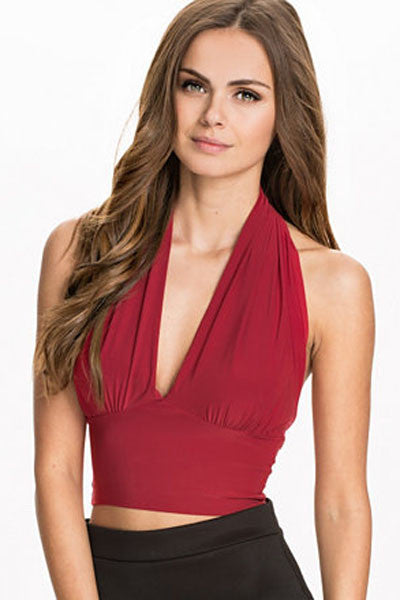 Red Halter Neck Crop Top