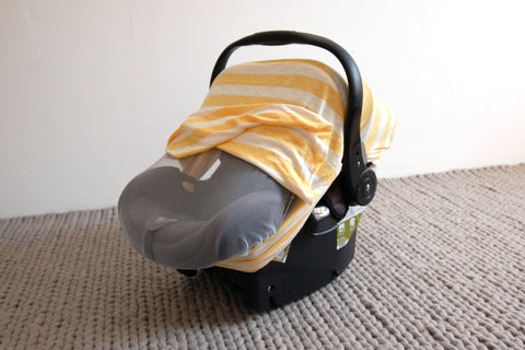 SUNSHINE STRIPE Bug-Me-Not Infant Car Seat Cover
