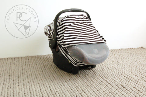 BLACK/WHITE STRIPE | Bug-Me-Not Infant Car Seat Cover