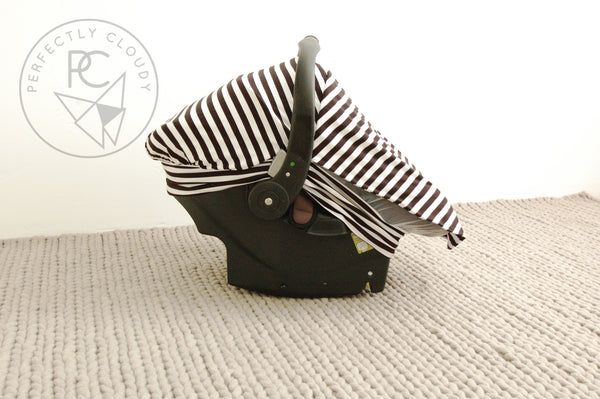 BLACK/WHITE STRIPE Bug-Me-Not Infant Car Seat Cover