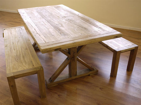 farmhouse table, dining table, wooden table, the furniture recycling shop, rustic dining table, benches