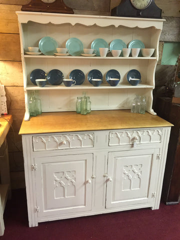 dresser, painted white dresser, dining room furniture, home, interior, tall dresser, side table, wood, vintage glass bottles,