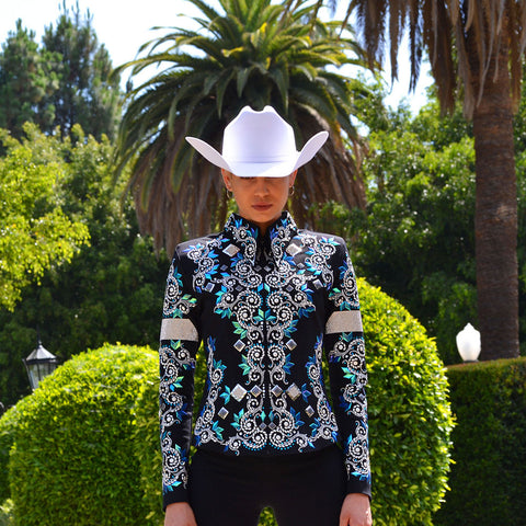 Iridescent Blue Diamonds Western Show Jacket (S)
