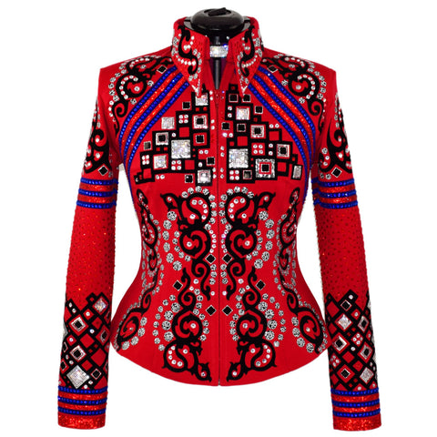Red, Black and Royal Blue Western Show Jacket (M)
