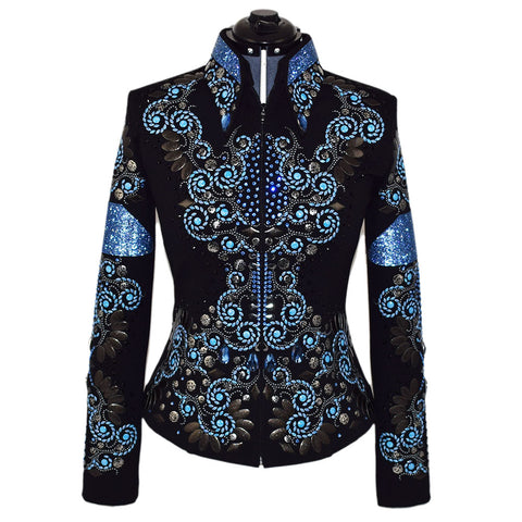 Light Blue and Pearl Black Western Show Jacket (S)