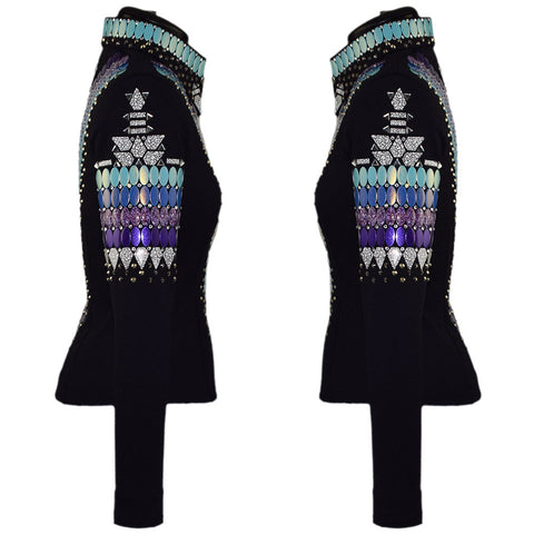 Blue, Purple and Turquoise Western Show Jacket (XXS/XS)