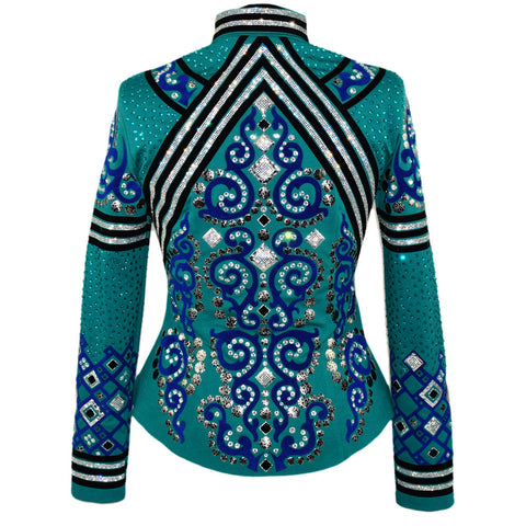 Kelly Green, Royal Blue and Black Western Show Jacket (M)