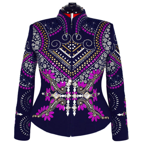 Navy and Electric Purple Show Jacket (XL/1X)