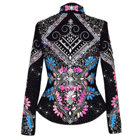 Pink and Blue Western Show Jacket (S)