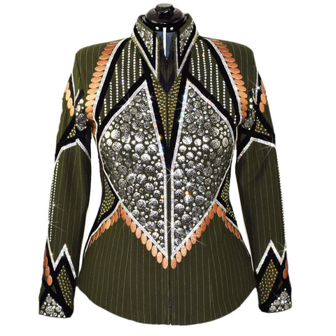 Olive and Rust Pinstripe Showmanship Suit (L)