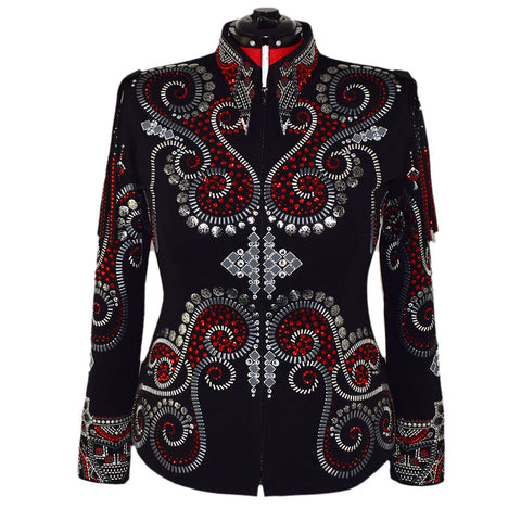 Red and Gray Show Jacket w/removable fringe (1X)