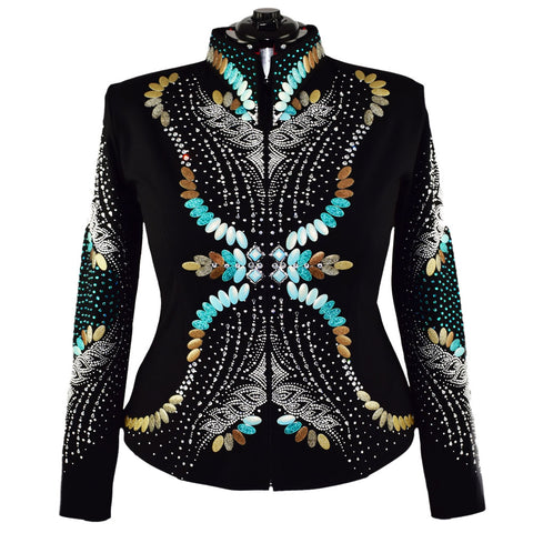 Turquoise and Bronze Ribbons Riding Jacket (3X)