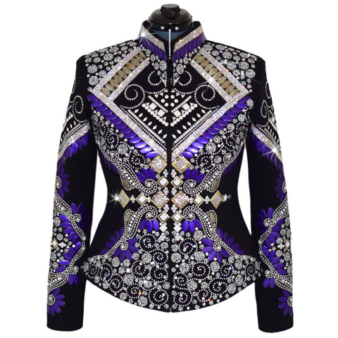 Purple and Marbled Sand Western Show Jacket (L)