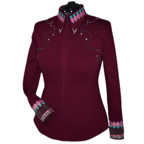 Wine, Teal and Pink Showmanship Jacket and Pants (L/XL)