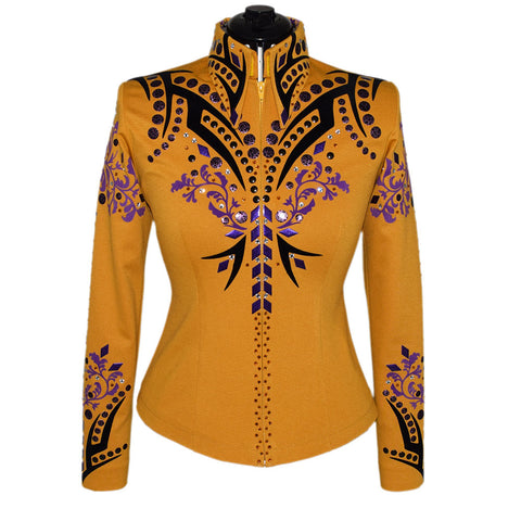 Goldenrod, Black and Purple Western Show Shirt (S)