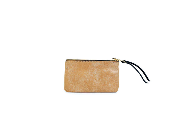 Leather Pouch, in Tan Gold Dust