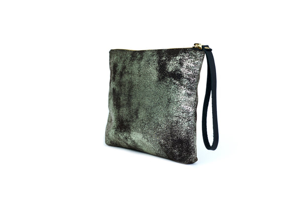 Square Leather Pouch, <BR> in Gunmetal