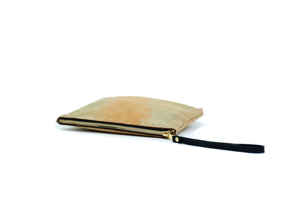 Square Leather Pouch, <BR> in Tan Gold Dust