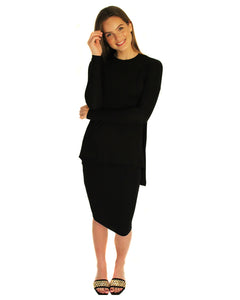 Waterfall Top with Ribbed Sleeves