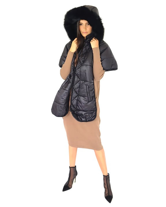 Puffer Cape-ish Vest with Fur edged Hood