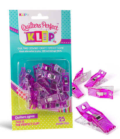 Pack of 25 KLIPit Quilt Binding Clips with Simple Seam(tm)