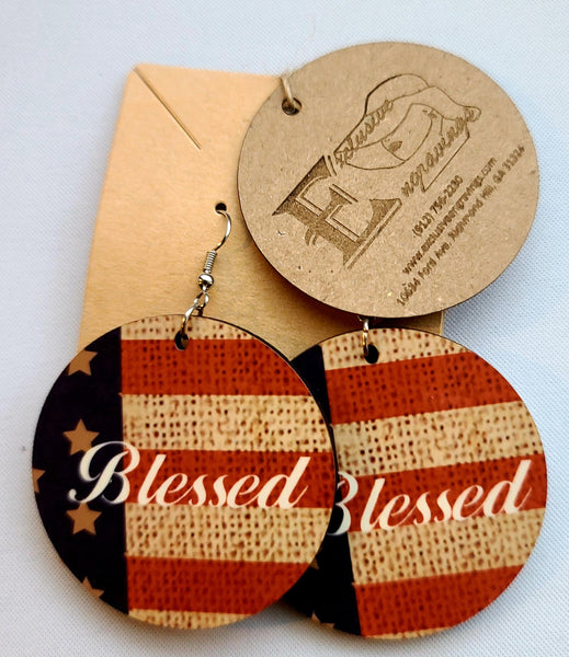 American Flag Blessed Round Earrings
