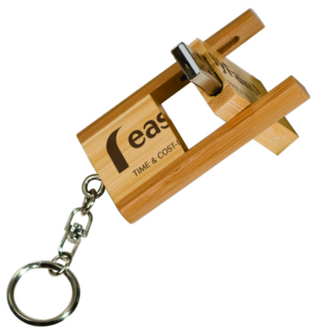 4GB Flip-Style Bamboo USB Flash Drive with Keychain